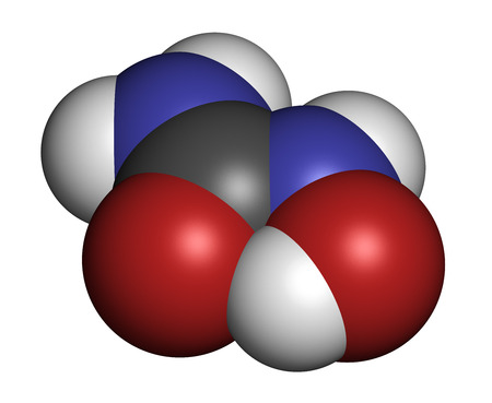 chemotherapeutic: Hydroxycarbamide cancer drug molecule. Atoms are represented as spheres with conventional color coding: hydrogen (white), carbon (grey), oxygen (red), nitrogen (blue). Stock Photo
