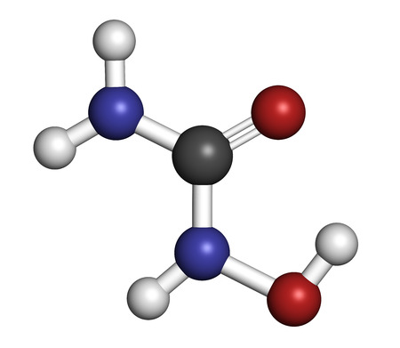 plasmodium: Hydroxycarbamide cancer drug molecule. Atoms are represented as spheres with conventional color coding: hydrogen (white), carbon (grey), oxygen (red), nitrogen (blue). Stock Photo