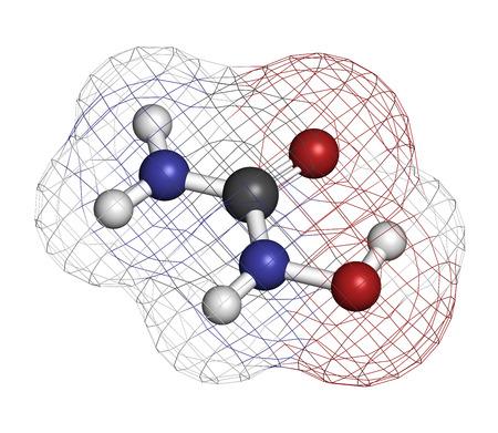 hidrogeno: Mol�cula de medicamento contra el c�ncer Hydroxycarbamide. Los �tomos se representan como esferas con codificaci�n de colores convencionales: hidr�geno (blanco), carb�n (gris), ox�geno (rojo), nitr�geno (azul).