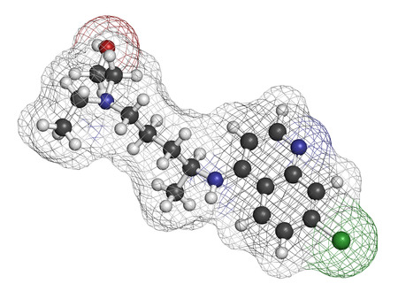 antidiabetic: Hydroxychloroquine malaria drug molecule. Atoms are represented as spheres with conventional color coding: hydrogen (white), carbon (grey), oxygen (red), nitrogen (blue), chlorine (green). Stock Photo
