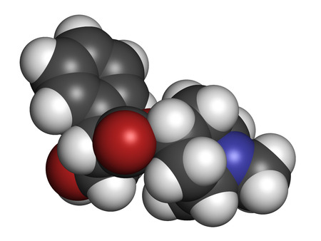 anticholinergic: Scopolamine (hyoscine) anticholinergic drug molecule. Used in treatment of nausea, vomiting and motion sickness. Atoms are represented as spheres with conventional color coding: hydrogen (white), carbon (grey), oxygen (red), nitrogen (blue).