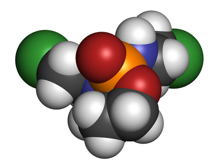 testicular cancer: Ifosfamide cancer chemotherapy drug molecule. Atoms are represented as spheres with conventional color coding: hydrogen (white), carbon (grey), oxygen (red), nitrogen (blue), phosphorus (orange), chlorine (green). Stock Photo