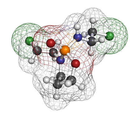 Ifosfamide cancer chemotherapy drug molecule. Atoms are represented as spheres with conventional color coding: hydrogen (white), carbon (grey), oxygen (red), nitrogen (blue), phosphorus (orange), chlorine (green). Stock Photo