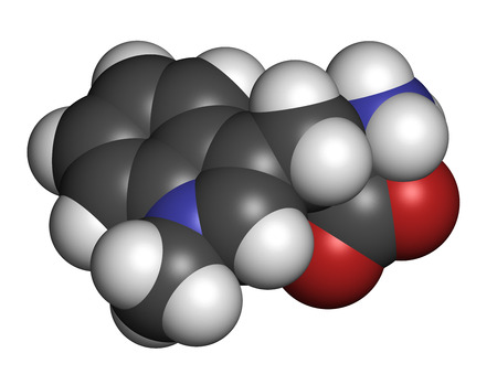 pancreatic cancer: Indoximod cancer drug molecule (IDO or indoleamine 2,3-dioxygenase inhibitor). Atoms are represented as spheres with conventional color coding: hydrogen (white), carbon (grey), oxygen (red), nitrogen (blue). Stock Photo