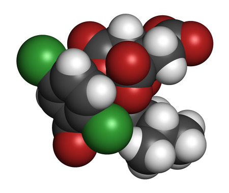 boron: Ixazomib citrate multiple myeloma drug molecule (proteasome inhibitor). Atoms are represented as spheres with conventional color coding: hydrogen (white), carbon (grey), oxygen (red), nitrogen (blue), chlorine (green), boron (pink). Stock Photo