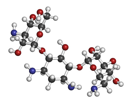 Kanamycin antibiotic drug molecule (aminoglycoside). Atoms are represented as spheres with conventional color coding: hydrogen (white), carbon (grey), oxygen (red), nitrogen (blue). photo