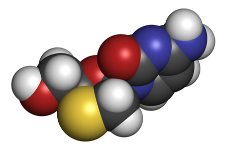 nucleoside: Lamivudine (3TC) antiviral drug molecule. Used in treatment of HIV and hepatitis B virus. Atoms are represented as spheres with conventional color coding: hydrogen (white), carbon (grey), oxygen (red), nitrogen (blue), sulfur (yellow).
