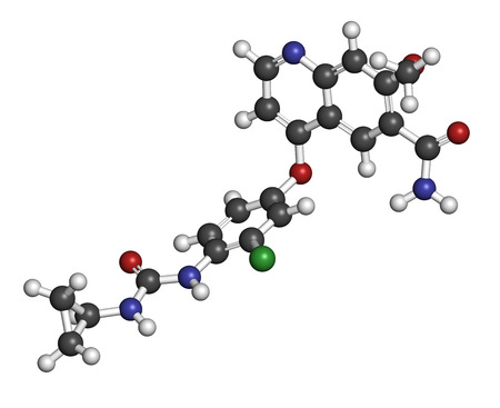 kinase: Lenvatinib cancer drug molecule (multi-kinase inhibitor). Atoms are represented as spheres with conventional color coding: hydrogen (white), carbon (grey), oxygen (red), nitrogen (blue), chlorine (green).