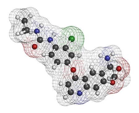 HIDROGENO: Molécula de fármaco cáncer Lenvatinib (inhibidor de multi-quinasa). Los átomos se representan como esferas con codificación de colores convencionales: hidrógeno (blanco), carbón (gris), oxígeno (rojo), nitrógeno (azul), cloro (verde).
