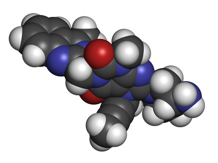 inhibitor: Linagliptin diabetes drug molecule (dipeptidyl peptidase 4 or DPP4 inhibitor). Atoms are represented as spheres with conventional color coding: hydrogen (white), carbon (grey), oxygen (red), nitrogen (blue).