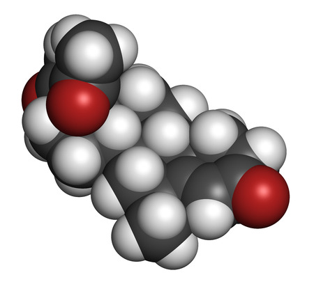 progesterone: Medroxyprogesterone acetate (MPA) progestin hormone drug. Used as contraceptive, in hormone replacement therapy and in the treatment of endometriosis. Atoms are represented as spheres with conventional color coding: hydrogen (white), carbon (grey), oxygen