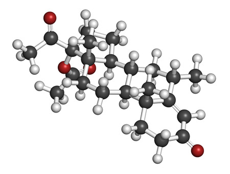 contraceptive: Medroxyprogesterone acetate (MPA) progestin hormone drug. Used as contraceptive, in hormone replacement therapy and in the treatment of endometriosis. Atoms are represented as spheres with conventional color coding: hydrogen (white), carbon (grey), oxygen