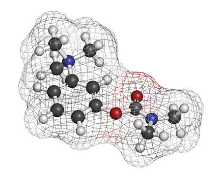 relaxant: Neostigmine drug molecule. Atoms are represented as spheres with conventional color coding: hydrogen (white), carbon (grey), oxygen (red), nitrogen (blue).