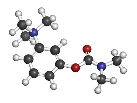 HIDROGENO: Molécula del fármaco neostigmina. Los átomos se representan como esferas con codificación de colores convencionales: hidrógeno (blanco), carbón (gris), oxígeno (rojo), nitrógeno (azul).