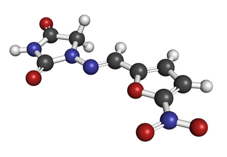prophylaxis: Nitrofurantoin antibiotic drug molecule. Used to treat urinary tract infections (UTI). Atoms are represented as spheres with conventional color coding: hydrogen (white), carbon (grey), oxygen (red), nitrogen (blue). Stock Photo