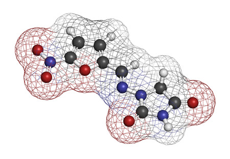 tract: Nitrofurantoin antibiotic drug molecule. Used to treat urinary tract infections (UTI). Atoms are represented as spheres with conventional color coding: hydrogen (white), carbon (grey), oxygen (red), nitrogen (blue). Stock Photo