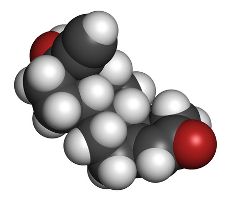 premenstrual: Norethisterone (norethindrone) progestogen hormone drug. Used in contraceptive pills and for a number of other indications. Atoms are represented as spheres with conventional color coding: hydrogen (white), carbon (grey), oxygen (red).