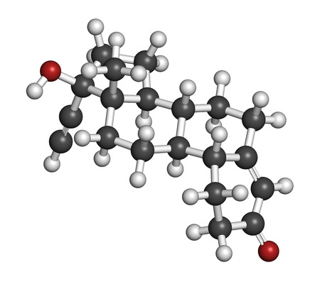 contraceptive: Norethisterone (norethindrone) progestogen hormone drug. Used in contraceptive pills and for a number of other indications. Atoms are represented as spheres with conventional color coding: hydrogen (white), carbon (grey), oxygen (red).