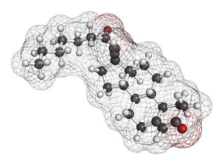 inyeccion intramuscular: Enantato de noretisterona (aenanthate noretindrona) mol�cula del f�rmaco anticonceptivo inyectable. Los �tomos se representan como esferas con codificaci�n de colores convencionales: hidr�geno (blanco), carb�n (gris), ox�geno (rojo).