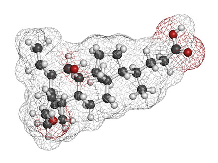 Obeticholic acid liver disease drug molecule. Agonist of farnesoid x receptor (FXR). Atoms are represented as spheres with conventional color coding: hydrogen (white), carbon (grey), oxygen (red). Stock Photo