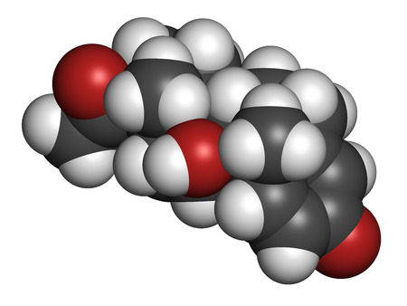 Prednisolone corticosteroid drug molecule. Atoms are represented as spheres with conventional color coding: hydrogen (white), carbon (grey), oxygen (red).