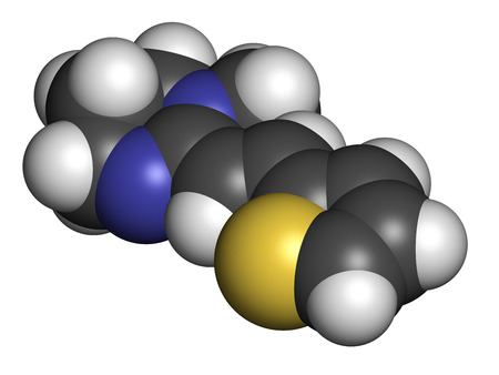 Pyrantel antinematodal drug molecule. Used to threat nematode (roundworm) parasite infections. Atoms are represented as spheres with conventional color coding: hydrogen (white), carbon (grey), sulfur (yellow), nitrogen (blue). photo