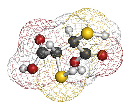 poisoning: Succimer (dimercaptosuccinic acid, DMSA) lead poisoning drug molecule. Antidote used in heavy metal poisoning; acts by forming chelates with metals. Atoms are represented as spheres with conventional color coding: hydrogen (white), carbon (grey), oxygen ( Stock Photo