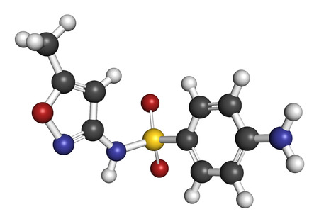 tract: Sulfamethoxazole antibiotic drug molecule (sulfonamide class). Commonly used to treat urinary tract infections. Atoms are represented as spheres with conventional color coding: hydrogen (white), carbon (grey), oxygen (red), nitrogen (blue), sulfur (yellow