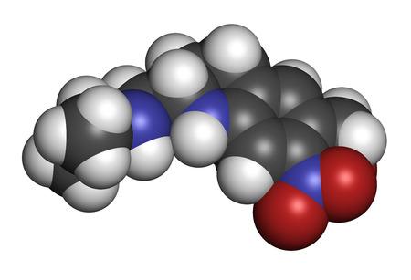 hidrogeno: Oxamniquine mol�cula del f�rmaco antihelm�ntico. Se utiliza para tratar las infecciones por Schistosoma mansoni. Los �tomos se representan como esferas con codificaci�n de colores convencionales: hidr�geno (blanco), carbono (gris), ox�geno (rojo), nitr�geno (azul).