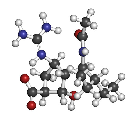 neuraminidase: Peramivir influenza drug molecule (neuraminidase inhibitor). Atoms are represented as spheres with conventional color coding: hydrogen (white), carbon (grey), oxygen (red), nitrogen (blue).