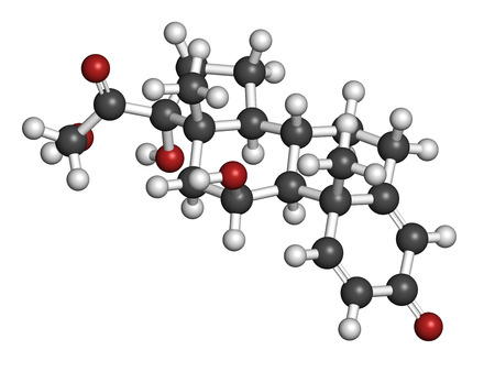 immunosuppressive: Prednisolone corticosteroid drug molecule. Atoms are represented as spheres with conventional color coding: hydrogen (white), carbon (grey), oxygen (red).