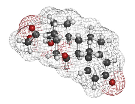 crohn: Prednisolone corticosteroid drug molecule. Atoms are represented as spheres with conventional color coding: hydrogen (white), carbon (grey), oxygen (red).