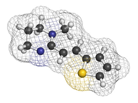 nicotinic: Pyrantel antinematodal drug molecule. Used to threat nematode (roundworm) parasite infections. Atoms are represented as spheres with conventional color coding: hydrogen (white), carbon (grey), sulfur (yellow), nitrogen (blue).