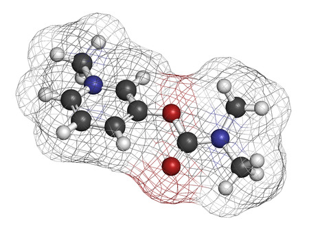 antidote: Pyridostigmine cholinesterase drug molecule. Used in treatment of myasthenia gravis and as antidote to some nerve agents. Atoms are represented as spheres with conventional color coding: hydrogen (white), carbon (grey), oxygen (red), nitrogen (blue). Stock Photo