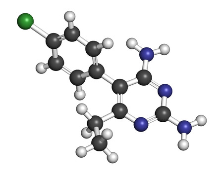 protozoa: Pyrimethamine malaria drug molecule. Also used as an antiprotozoal drug. Atoms are represented as spheres with conventional color coding: hydrogen (white), carbon (grey), chlorine (green), nitrogen (blue).