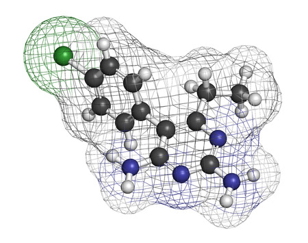 plasmodium: Pyrimethamine malaria drug molecule. Also used as an antiprotozoal drug. Atoms are represented as spheres with conventional color coding: hydrogen (white), carbon (grey), chlorine (green), nitrogen (blue).