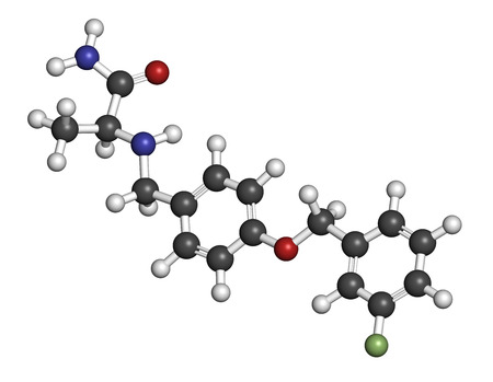 oxidase: Safinamide Parkinsons disease drug molecule. Atoms are represented as spheres with conventional color coding: hydrogen (white), carbon (grey), oxygen (red), nitrogen (blue), fluorine (light green).