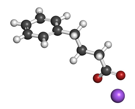 cystic: Sodium phenylbutyrate urea cycle disorders drug molecule. Also acts as histone acetylase (HDAc) inhibitor and chemical chaperone. Atoms are represented as spheres with conventional color coding: hydrogen (white), carbon (grey), oxygen (red), sodium (purpl