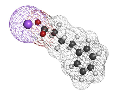 urea: Sodium phenylbutyrate urea cycle disorders drug molecule. Also acts as histone acetylase (HDAc) inhibitor and chemical chaperone. Atoms are represented as spheres with conventional color coding: hydrogen (white), carbon (grey), oxygen (red), sodium (purpl