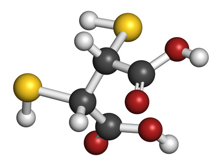 antidote: Succimer (dimercaptosuccinic acid, DMSA) lead poisoning drug molecule. Antidote used in heavy metal poisoning; acts by forming chelates with metals. Atoms are represented as spheres with conventional color coding: hydrogen (white), carbon (grey), oxygen ( Stock Photo