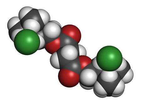 nicotinic: Suxamethonium chloride (succinylcholine) muscle relaxant drug molecule. Atoms are represented as spheres with conventional color coding: hydrogen (white), carbon (grey), oxygen (red), nitrogen (blue), chlorine (green).
