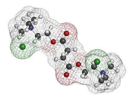 HIDROGENO: Cloruro (succinilcolina) molécula del fármaco relajante muscular Suxametonio. Los átomos se representan como esferas con codificación de colores convencionales: hidrógeno (blanco), carbón (gris), oxígeno (rojo), nitrógeno (azul), cloro (verde).