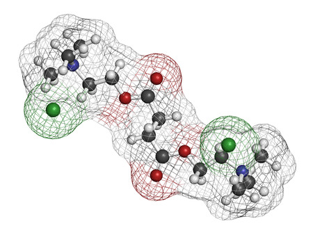 relaxant: Suxamethonium chloride (succinylcholine) muscle relaxant drug molecule. Atoms are represented as spheres with conventional color coding: hydrogen (white), carbon (grey), oxygen (red), nitrogen (blue), chlorine (green).