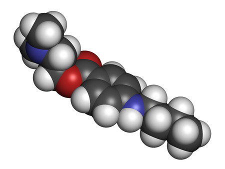 anesthetic: Tetracaine local anesthetic drug molecule. Atoms are represented as spheres with conventional color coding: hydrogen (white), carbon (grey), oxygen (red), nitrogen (blue).