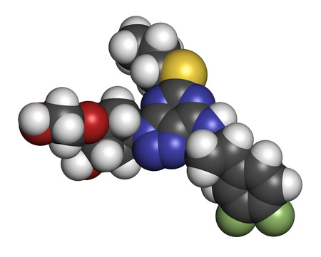 fluorine: Ticagrelor platelet inhibitor drug. Used to prevent thrombosis. Atoms are represented as spheres with conventional color coding: hydrogen (white), carbon (grey), oxygen (red), nitrogen (blue), sulfur (yellow), fluorine (light green).