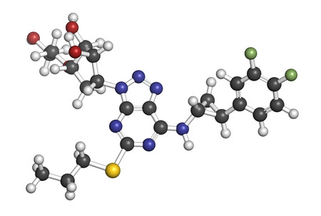 nucleoside: Ticagrelor platelet inhibitor drug. Used to prevent thrombosis. Atoms are represented as spheres with conventional color coding: hydrogen (white), carbon (grey), oxygen (red), nitrogen (blue), sulfur (yellow), fluorine (light green).