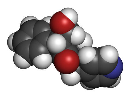 anticholinergic: Tropicamide mydriatic eye drug molecule. Atoms are represented as spheres with conventional color coding: hydrogen (white), carbon (grey), oxygen (red), nitrogen (blue).