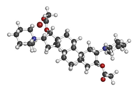 relaxant: Vecuronium bromide muscle relaxant drug (paralyzing agent). Used in anesthesia but also in lethal injection cocktails. Atoms are represented as spheres with conventional color coding: hydrogen (white), carbon (grey), oxygen (red), nitrogen (blue), bromine