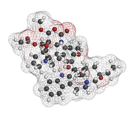 immunosuppressant: Vincrinstine cancer drug molecule (vinca alkaloid class). Atoms are represented as spheres with conventional color coding: hydrogen (white), carbon (grey), oxygen (red), nitrogen (blue).