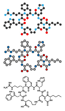 suntan: Bremelanotide female sexual dysfunction drug molecule (investigational). Stylized 2D renderings and conventional skeletal formula.